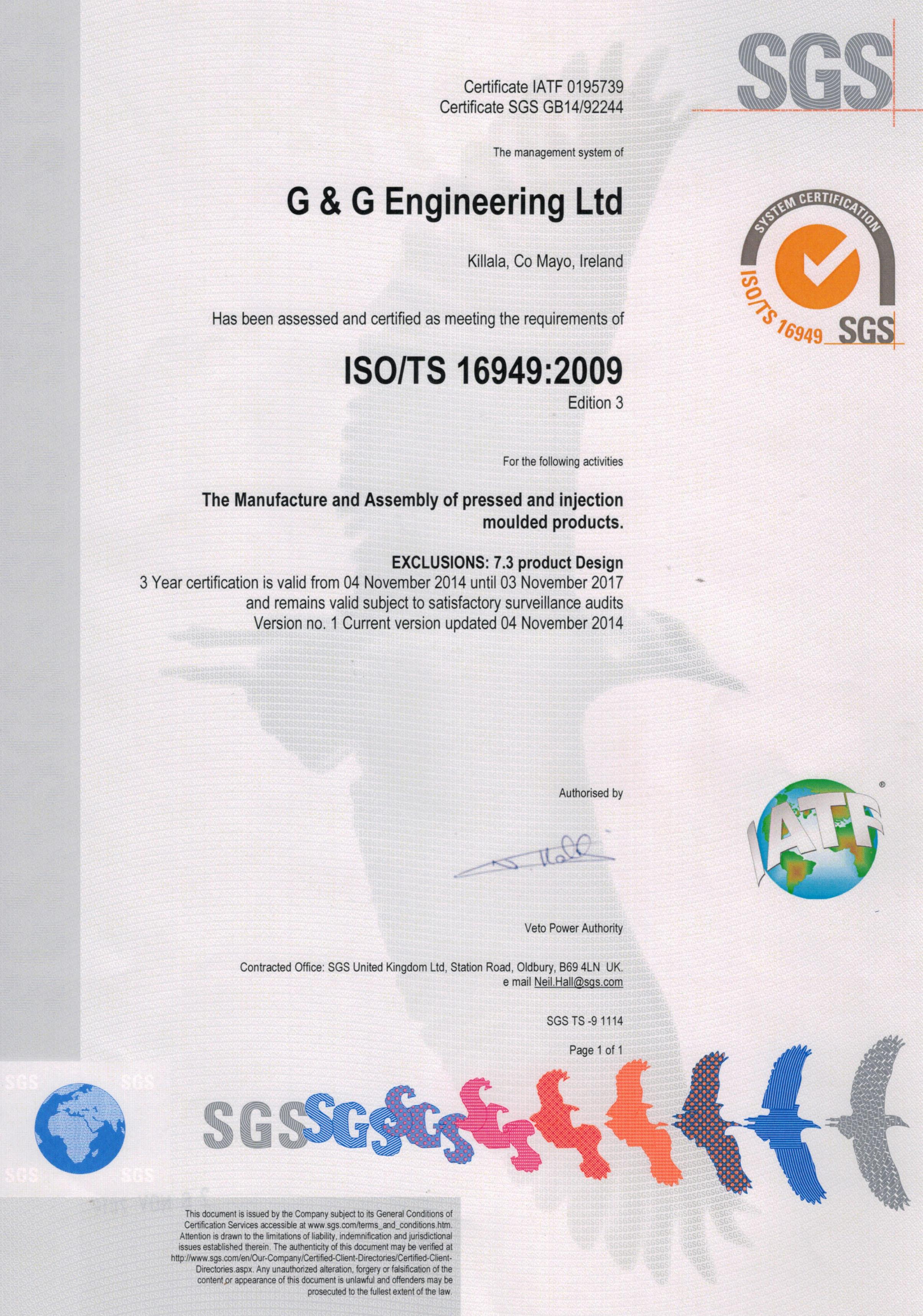 ISO/TS16949 Certificate